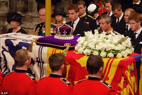 Goodbye: The Royal family stand by the Queen Mother's coffin at her funeral service inside Westminster Abbey in April 2002.