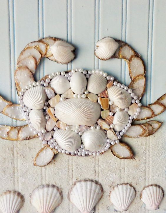 Coastal Art Seashell Crab Collage Mixed Media by MidorisMyMuse:
