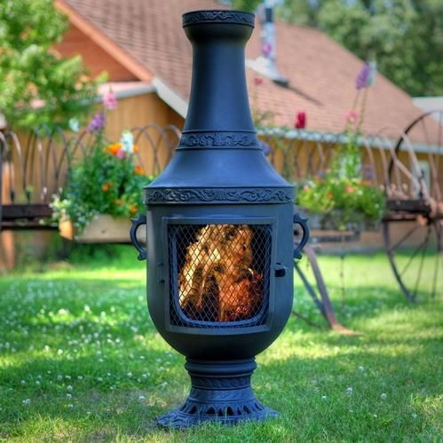 The Blue Rooster Venetian Style Cast Aluminum Chiminea With Natural Gas Conversion Kit Charcoal In 2020 Clay Fire Pit Chiminea Fire Pit Chiminea