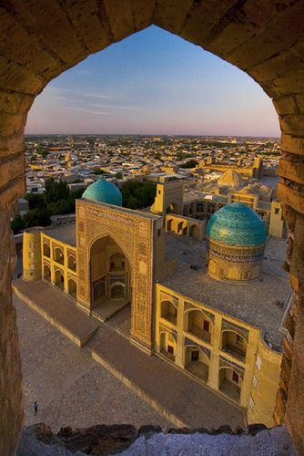 Mir-i-arab Madrassah viewed at sunset from Kalon Minaret, Bukhara, Uzbekistan.