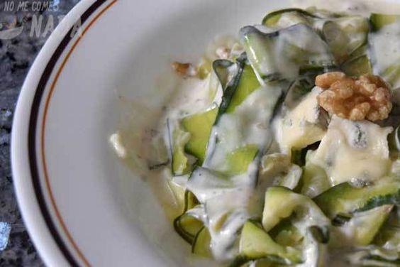 Fetuccini de calabacín con gorgonzola y nueces