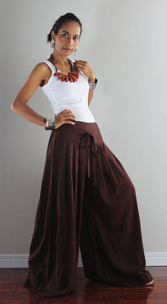 Chocolate Brown Wide Leg Pants - Cotton Linen Pants Casual Wear ...