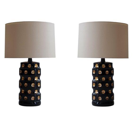 gold and black ceramic polka dot lamps