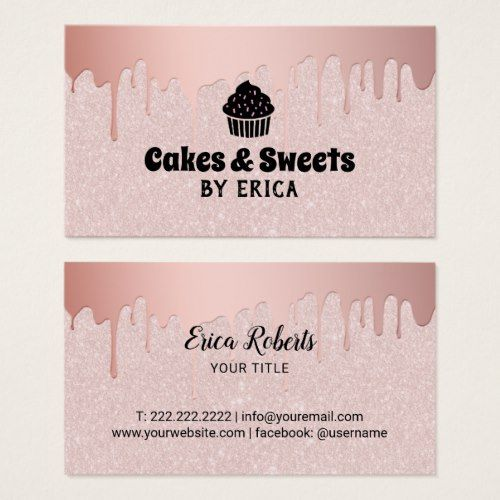 Cakes Sweets Cupcake Home Bakery Pink Glitter Business Card