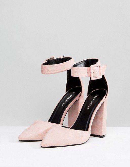 Pink block heels, Block heel shoes