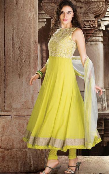 Picture of Plushy Yellow Designer Salwar Kameez