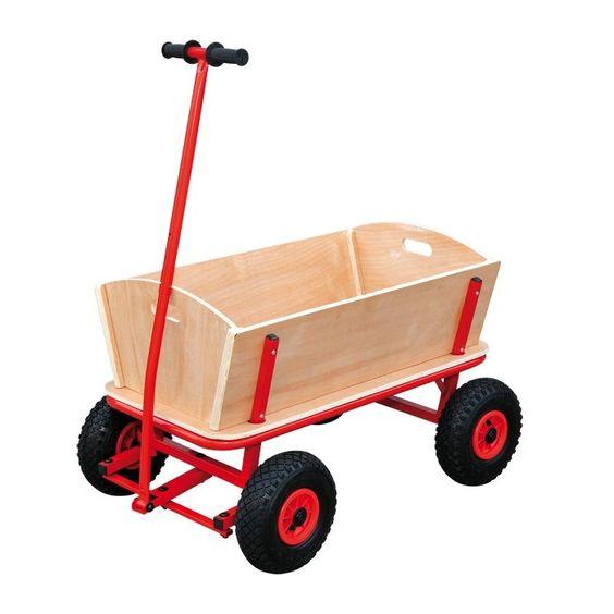 Carrito de madera para llevar ni os o equipaje for Carritos de madera para jardin