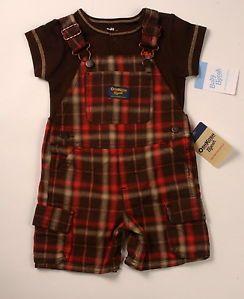 NWT-OshKosh-baby-boys-size-12-months-brown-orange-plaid-shortalls-brown-onesie