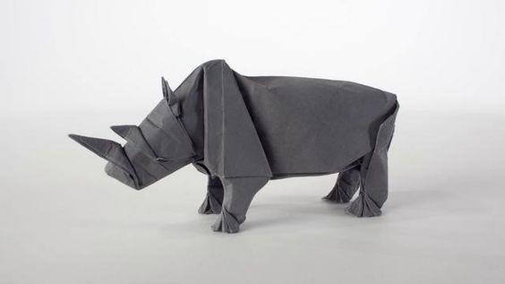 Origami Rhino Unfolding. Video by MABONA ORIGAMI.