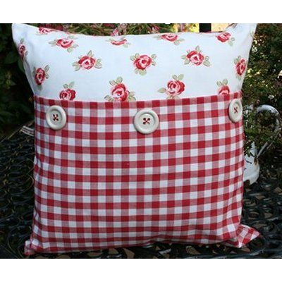 Cushion with buttons - Laura Ashleys vintage red bibi floral and red gingham fabrics <3