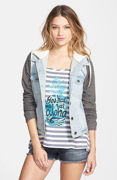 Thread & Supply Hooded Denim Jacket with Fleece Sleeves (Juniors ...