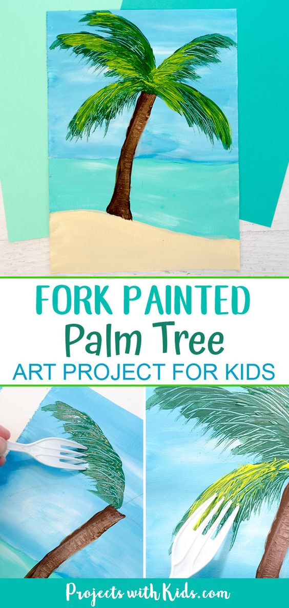 This fun and tropical palm tree fork painting is so fun for kids to make! A great summer art project for older kids and tweens that uses a unique painting technique. #projectswithkids #paintingideas #kidsart
