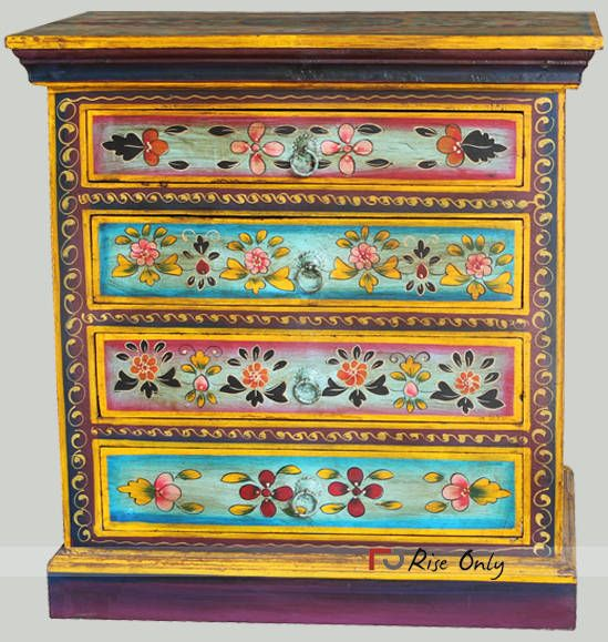 Rise Only Acacia Wooden Floral Painted Bedside In 2020 Painted Bedside Tables Vintage Painted Furniture Hand Painted Furniture