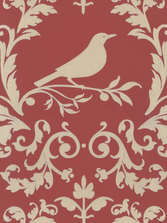 The perfect wallpaper for a bird watcher: damask in the color brick and cream velvet. From the book Velvet Collectibles III at AmericanBlinds.com #wallcovering