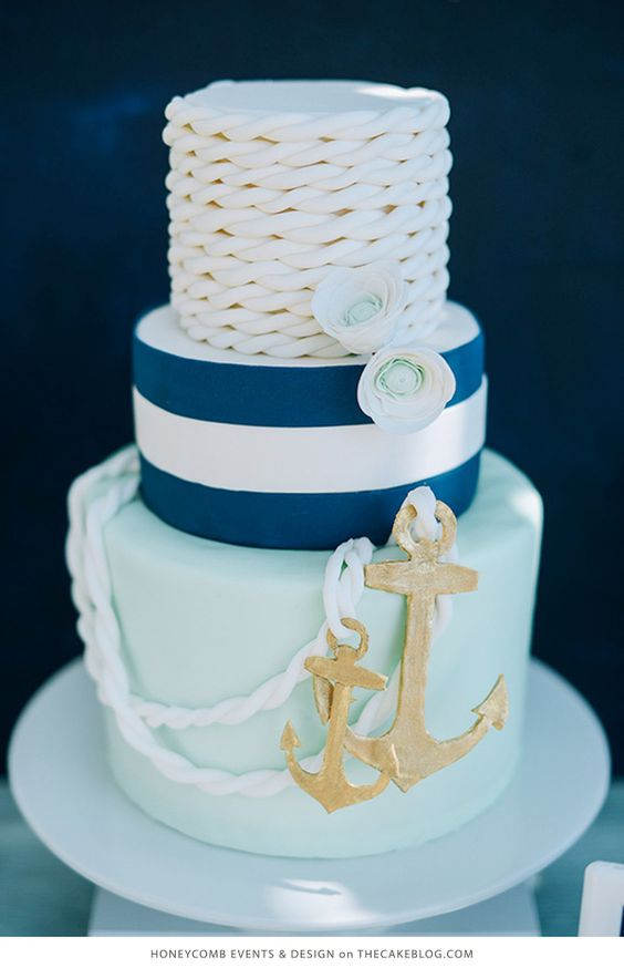 10 Sea-Loving Nautical Cakes  | including this design by Honeycomb Evens & Design| on TheCakeBlog.com:
