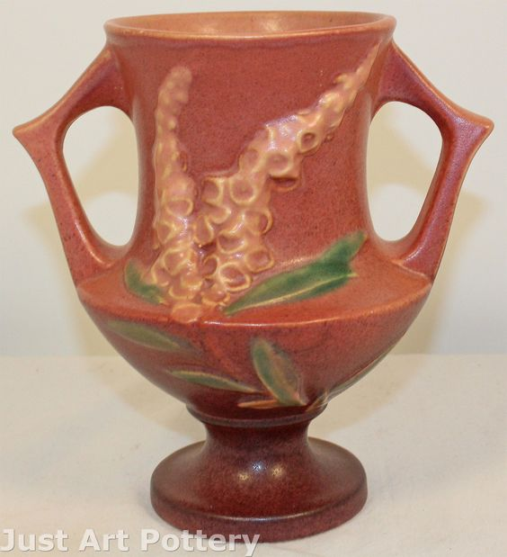 Roseville Pottery Foxglove Pink Vase 161-6 from Just Art Pottery
