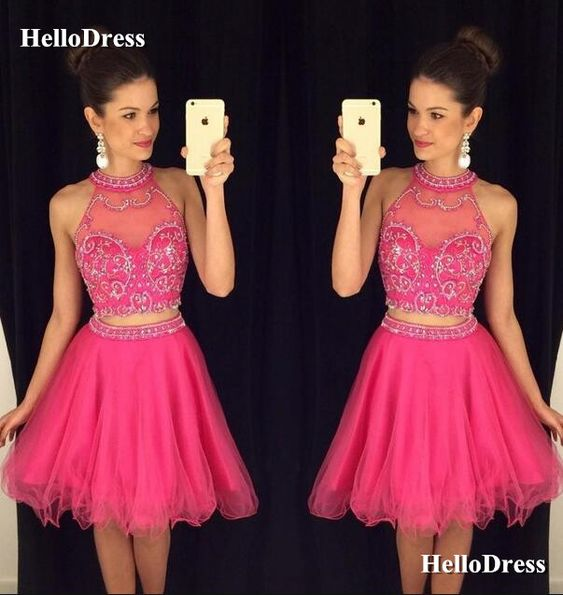 Rose Red Halter 2 Pieces Short Prom Dress Party Dress on Storenvy