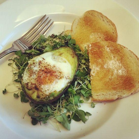 Avocado Egg Bake served with Ernessi Organics Micro Basil