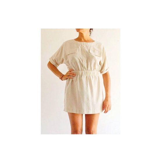 Kimono sleeve mini dress / Beige mini dress / by PittiVintage