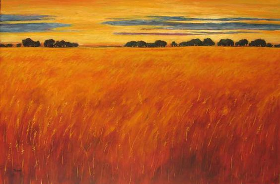 Autumn Fields at Sunset Abstract Huge Contemporary by pattyabaker, $1200.00    The colors of this painting make one warm and content, don't you think?  Yellow and gold and all of the exuberant shades between.  By Patty Baker.