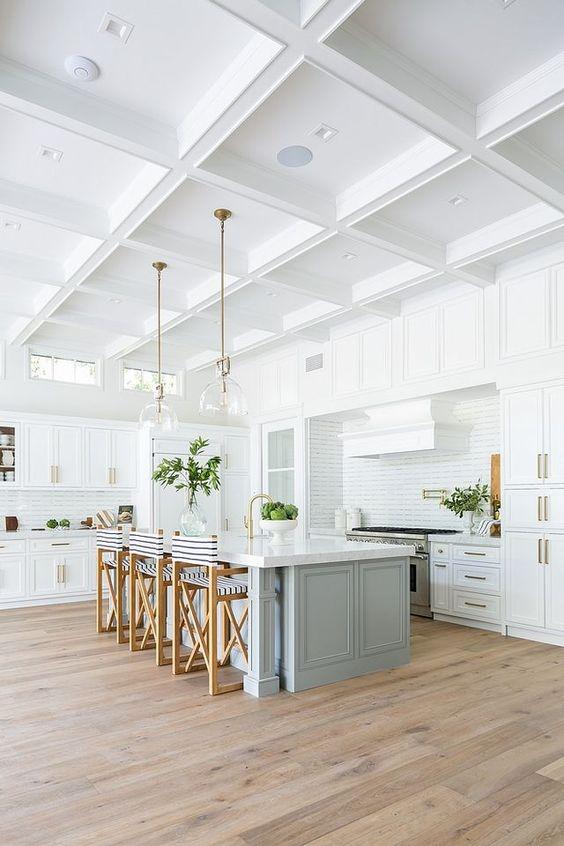 California modern coastal kitchen with grey blue island and striped counter stools | kitchen design | kitchen ideas | coastal farmhouse | coastal cottage | blue kitchen island