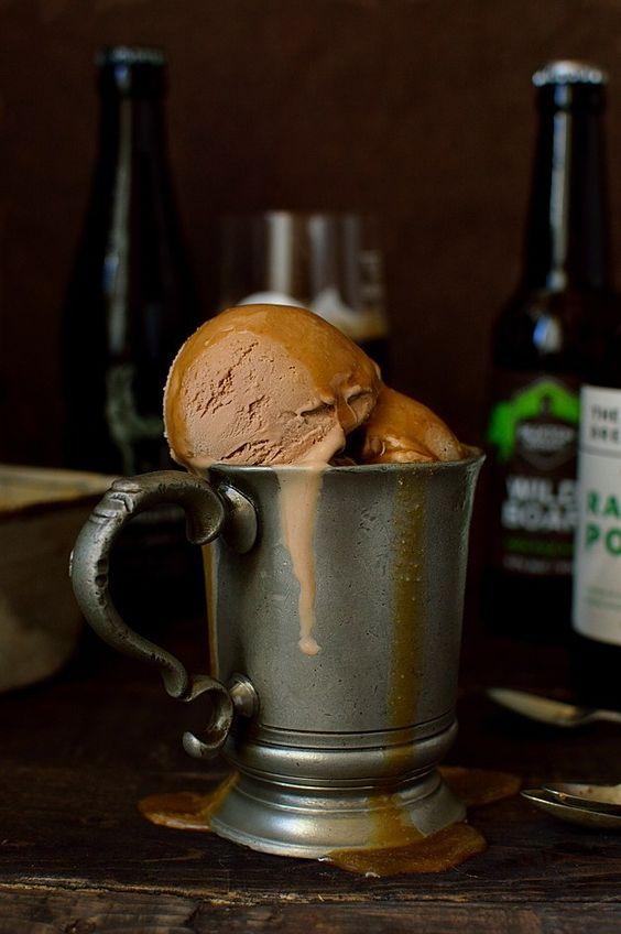 milk chocolate porter (or stout) beer ice cream with porter caramel sauce