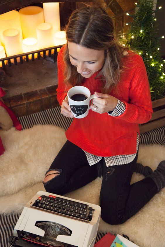 Christmas Day outfit - love the red with blouse underneath. And again the slit on the side of sweater.