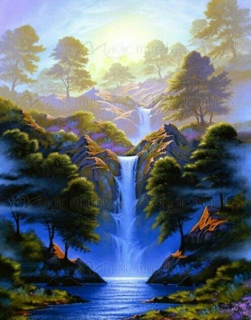 13 Lukisan Pemandangan Alam Air Terjun Di 2020 Pemandangan Pemandangan Khayalan Fotografi Alam