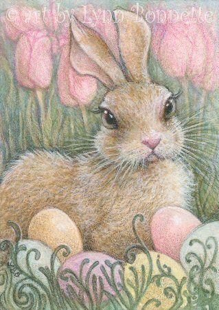 "Art by Lynn Bonnette: ""Spring Pastel Bunny Eggs"""