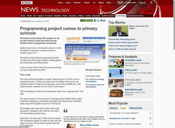On the 17th April the BBC was the first of the mainstream news channels to publish news about CodeClub.