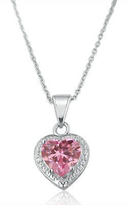 Sterling Silver Pink Ice Heart Pendant Necklace
