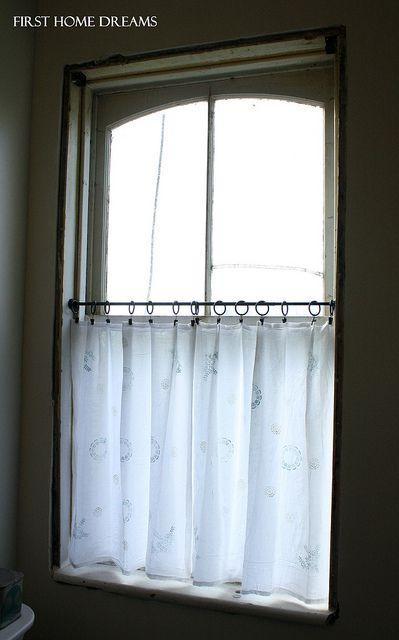 I made some xtra long cafe curtains out of a flour sack towel, I ...
