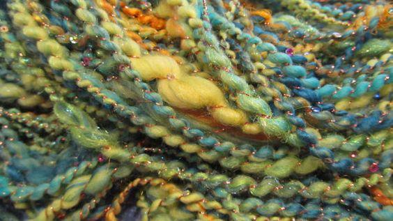 PINBALL WIZARD handspun sequined yarn 110 yds by gargoylelover