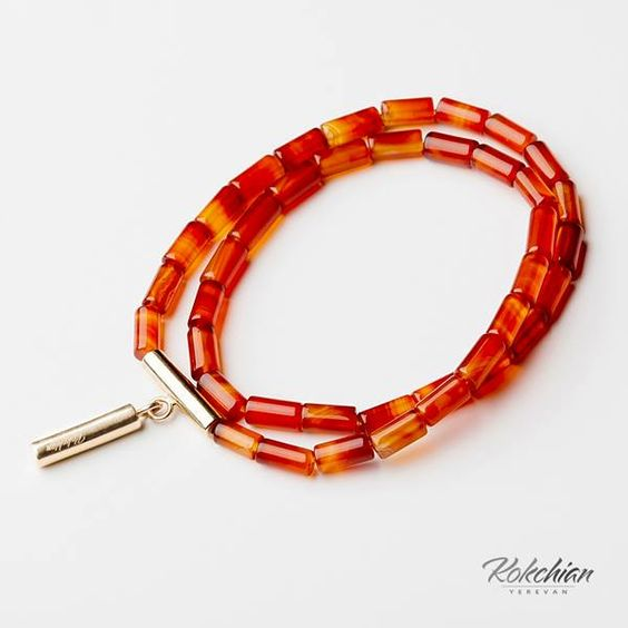 Kokchian Jewelry, Bracelet Autumn, striped agate, gold