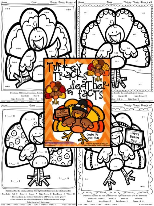 Turkey Tracks & Feather Facts ~ Math Printables Color By The Code Puzzles For November And Thanksgiving To Practice Math Skills. ~This Unit Is Aligned To The CCSS. Each Page Has The Specific CCSS Listed.~ This set includes 4 Turkey themed math puzzles to practice math skills. $
