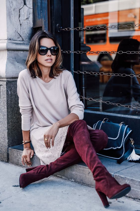 Pale pink sweater dress + burgundy over the knee boots:
