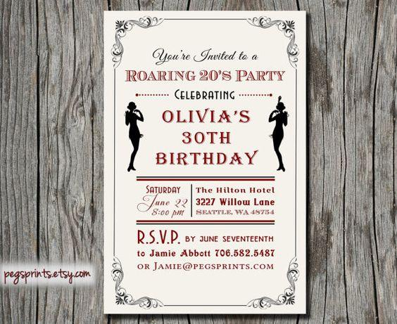 Roaring 20s Invitation - Printable 1920s Invitations - Roaring 20s ...