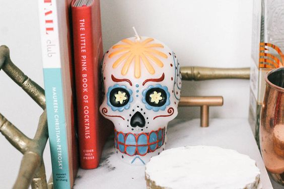 Skull Candle, Day of the Dead, Halloween Decor - Lemon Blonde