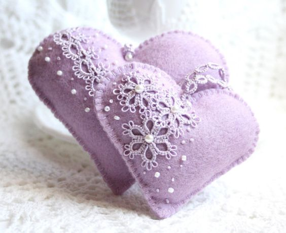 Heart Lavender and Lace Tatting Felt Sachets by KnotTherapy