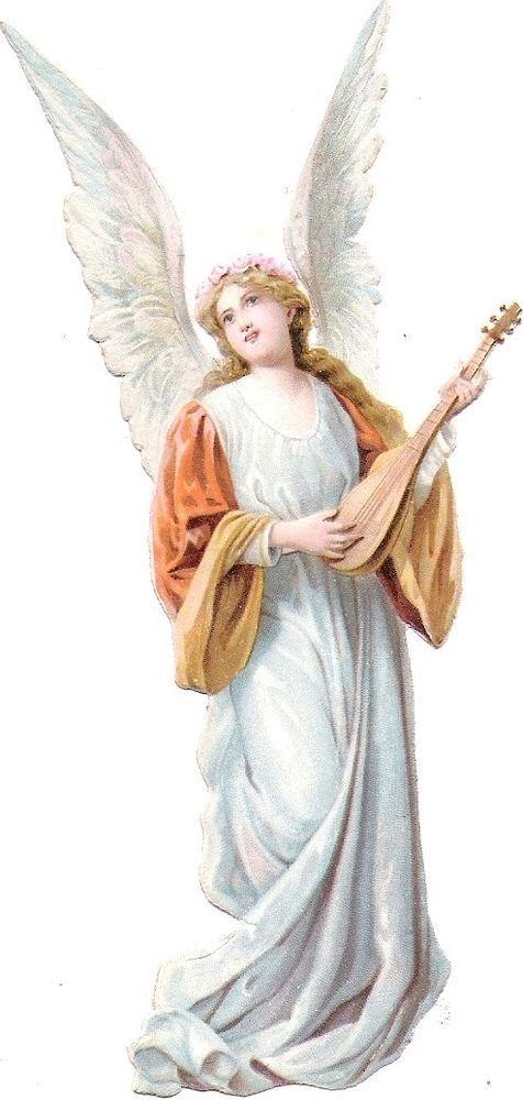 Oblaten Glanzbild scrap die cut chromo Engel  13cm angel cherub Musik: