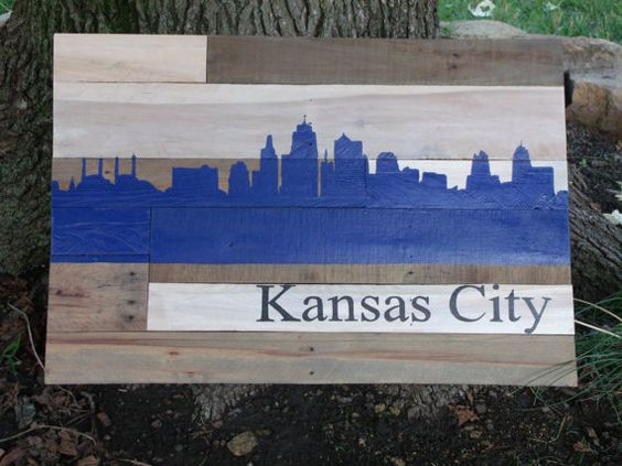 Kansas City Skyline Silhouette In Royals Blue Wall Hanging