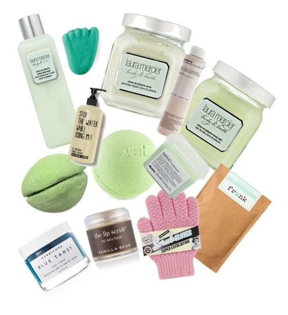 """""""shower 4"""" by wolfhallie ❤ liked on Polyvore featuring beauty, Laura Mercier, Sara Happ, Korres, Herbivore and Davines"""