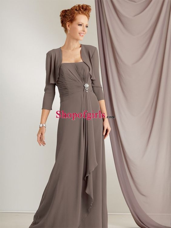 Elegant A-line Ruched Chiffon Long Strapless Mother of the Bride Dress with Jacket MBD-50433