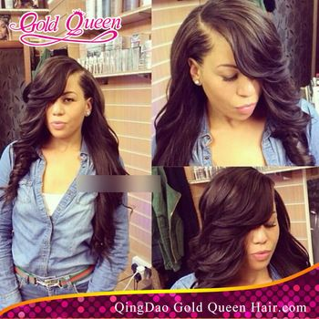 brazilian full lace wig body wave wig for black women glueless full lace wigs human hair body wave side part with thick bangs