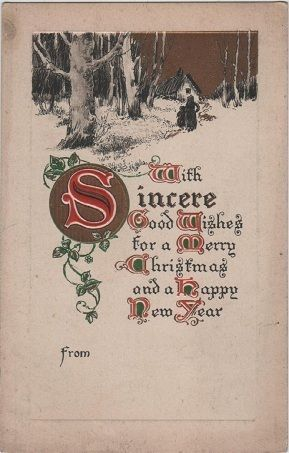Vintage Christmas postcard, with sincere good wishes, BB
