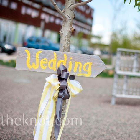 Yellow and Gray wedding sign
