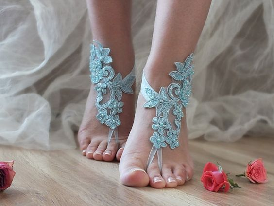 Free Ship blue ivory white black barefoot sandals,  laceBarefoot Sandals, french…