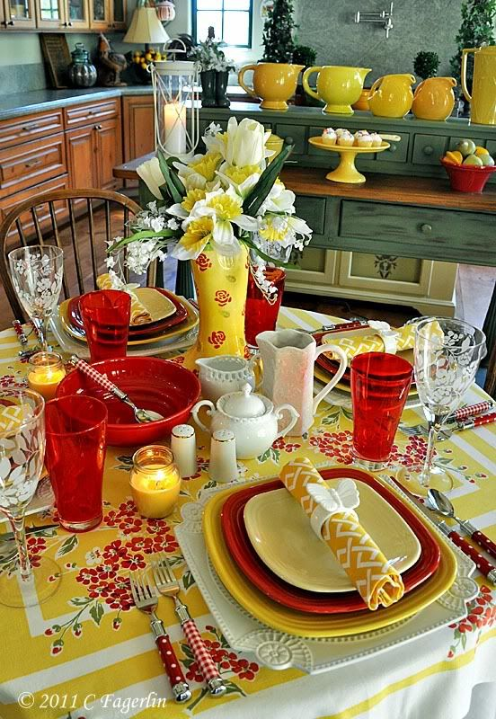 ...red and yellow table setting: