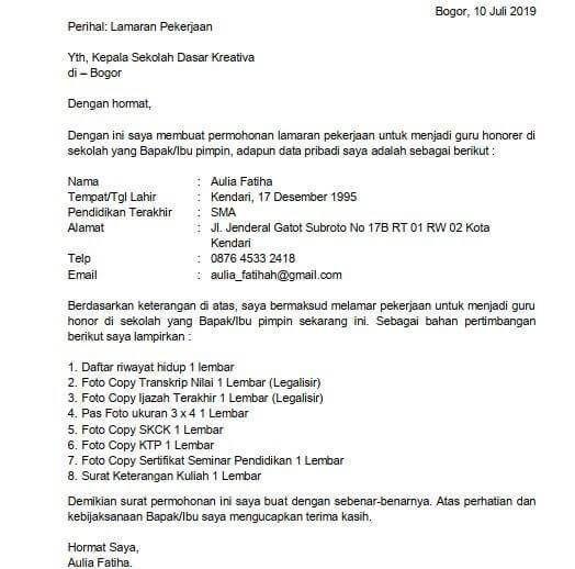 Contoh Surat Lamaran Kerja Radiografer Kepala Sekolah Surat Pimpinan