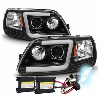 Hid Xenon 97 03 Ford F150 Led Tube Projector Headlights Black Ford F150 Ford F150 Accessories F150